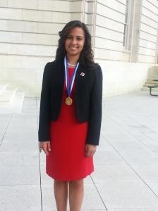 16-year-old, Carol Ann Schwarzenbach of Jacksonville, receives the Congressional Volunteer Award.