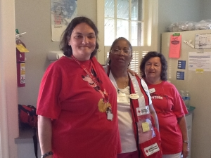 Sonia Johnson (front) along with fellow Red Cross volunteers Lani Morbley and Helen Miller.