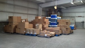 Disaster relief supplies at the MC3 warehouse in Goldsboro.