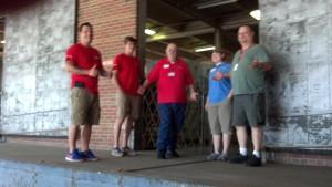 Matt Warren (left) with fellow Red Cross volunteers and staff.