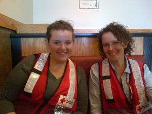 Amy Parsons (left) with fellow disaster volunteer Nancy Barletto.