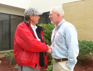 Melvin Hoard thanks Red Cross CEO Bill Brent for the support he received after his house was destroyed by a tornado.
