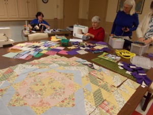 Quilters hard at work