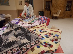Samples of finished quilts that are ready to be handed out