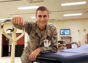 Warren Drell, a former USAF medical equipment technician, volunteers with the American Red Cross.