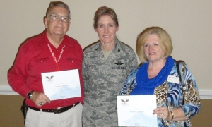 Margaret Taflinger and her husband, Lt. Col. Norman Taflinger, USAF (Retired), today received Presidential Volunteer Service Awards from Col. Jeannie Leavitt, Commander, 4th Fighter Wing, Seymour Johnson Air Force Base.