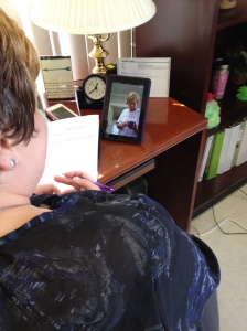 Shannon Kelly-Miller and Debbie Williams testing their technology for the Skype Volunteer Orientations.