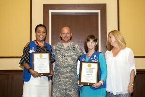 Linda Daley and Wanda Smith With Jeannette Salcedo and Col. Ronald Stephens