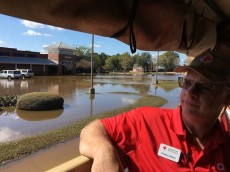 Red Cross worker, Dudley Walker surveys the damage in the town of Kinston, North Carolina. Roads in the area are slowly starting to open but the damage is extensive.