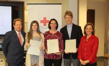 Regional CEO Barry Porter, Recipients Brooke Buczek, Jenny Rucker, Joey Bridgham, Triangle Board Chair Donna Rhode